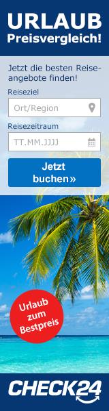 Werbebanner CHECK24 Partnerprogramm Wide Skyscraper - Pauschalreise 1 160x600