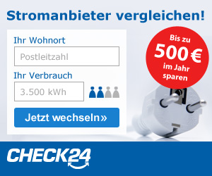 Werbebanner CHECK24 Partnerprogramm Medium Rectangle - Strom 300x250